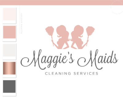 Cleaning Lady Logo, Maid Logo, Housekeeper Logo, Premade Cleaning logo, Cleaning Service Branding, Janitor Logo, Office Cleaner Logo
