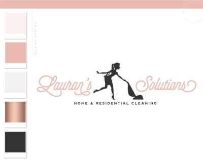 Cleaning logo, Vacuum Logo, Housekeeper Logo, Cleaning Service Branding, Maid Logo, Cleaning Lady Logo, Janitor Logo, Office Cleaner Logo