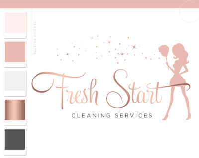 Cleaning logo, Premade Housekeeper Logo, Cleaning Service Branding, Maid Logo, Cleaning Lady Logo, Janitor Logo, Office Cleaner Logo