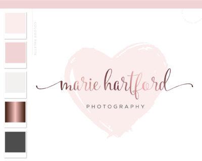 Heart Logo, Pink Watermark Heart Logo Branding, Watercolor logo, Photography Logo, Beauty Blogger Logo, Signature Logo Design