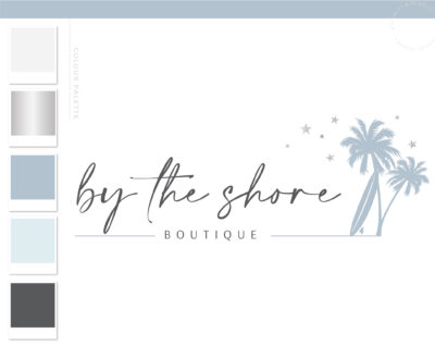 Palm Tree logo, Beach Stars and Waves logo Design, Tree Logo, Tropical Logo Realty Logo, Travel Agent Logo Travel Agency Broker Logo