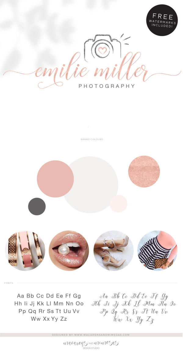 Camera Logo for Photographer, Photography Watermark Logo Branding, Rose Gold Camera Logo Package Design, Premade Watercolor Brushstroke Logo