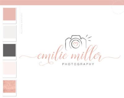 Camera Logo for Photographer, Photography Watermark Logo Branding, Rose Gold Camera Logo Package Design, Premade Watercolor Brushstroke Logo