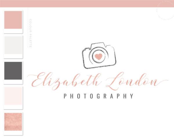 Photography Logo Design, Camera Logo for Photographer, Rose Gold Watermark Branding Package, Premade Watercolor Brushstroke Logo