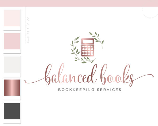 Calculator Logo, Floral wreath Bookkeeping Logo, Accounting Logo Design, Tax Prep & CPA Branding, Copywriter Feminine Business Logo Design