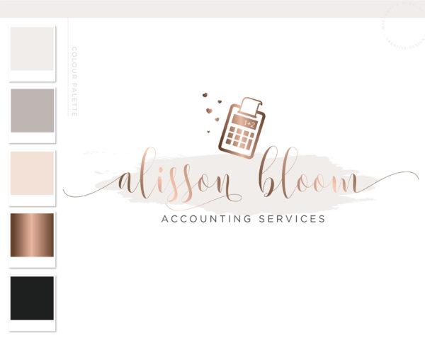 Calculator Logo, Bookkeeping Logo, Accounting Logo Design, Tax Prep & CPA Branding Kit, Copywriter Logo Feminine Business Logo Design