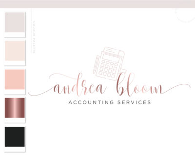 Calculator Logo, Accounting Logo Design, Bookkeeping Logo, Tax Prep & CPA Branding Kit, Copywriter Logo Feminine Business Logo Design