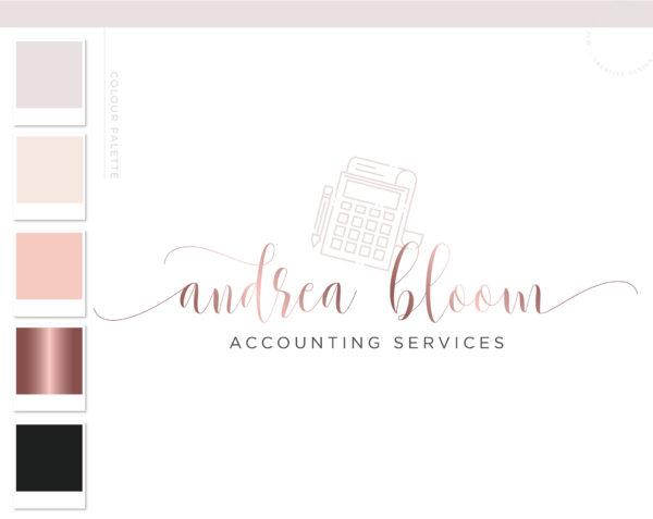 Calculator Logo, Accounting Logo Design, Bookkeeping Logo, Tax Prep & CPA Branding Kit, Copywriter Logo Feminine Business Logo Design