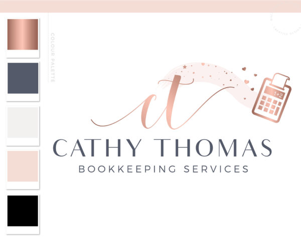 Calculator Logo, Accounting Logo Design, Bookkeeping Logo, Tax Accountant & CPA Branding Kit, Copywriter Logo Feminine Business Logo Design