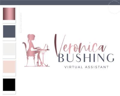 Bookkeeping Logo, Accounting Logo with Laptop Computer, Tax Prep & CPA Branding Kit, Copywriter Blogger Logo Feminine Business Logo Design