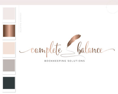 Accounting Logo Design, Bookkeeping Logo with Feather Quill Pen, Tax Prep & CPA Branding Kit, Copywriter Logo Feminine Business Logo Design