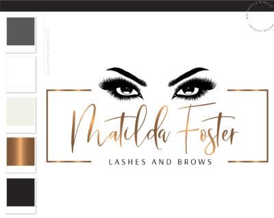 Lash Technician Logo Design, Eyelash Salon Branding Kit for Beauty Artists and Bloggers, Premade Eyelash Logo Template