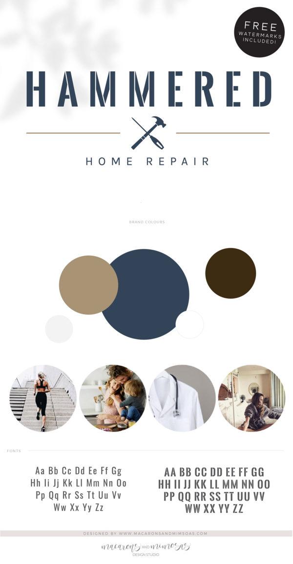 Home Repair logo, Handyman Logo, Carpentry Logo Design, Woodworking Services Logo, Masculine Branding Kit, Hammer Screw Driver Flooring