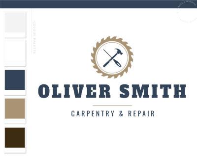 Carpentry Logo Design, Woodworking logo, Home Repair Services Logo, Handyman Logo, Masculine Branding Kit, Saw Blade Logo, Flooring Roofing