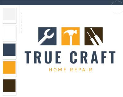 Home Repair logo, Handyman Logo, Carpentry Logo Design, Wrench Hammer Screw Driver logo, Masculine Branding Kit, Auto Car Repair Logo Design
