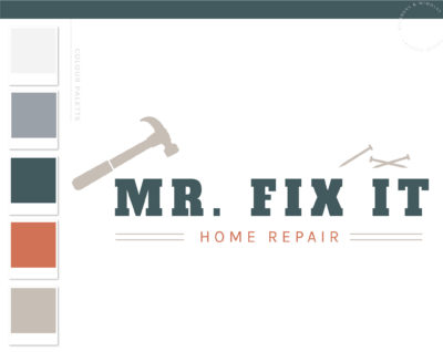 Home Repair logo, Handyman Logo, Carpentry Logo Design, Woodworking Services Logo, Five Star Masculine Branding Kit, Home Inspection Logo