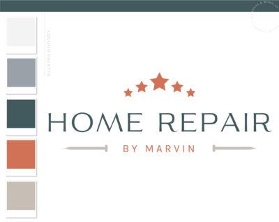 Home Repair logo, Handyman Logo, Carpentry Logo Design, Woodworking Services Logo, Five Star Logo, Masculine Branding Kit, Home Inspection