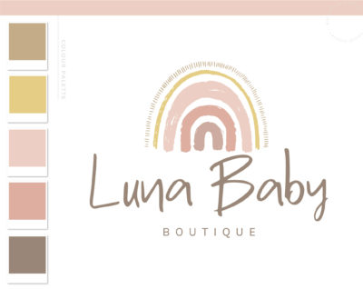 Rainbow Logo Design, Boho Baby Boutique Logo and Watermark, Photography Branding Kit, Cute Kids Logo Branding