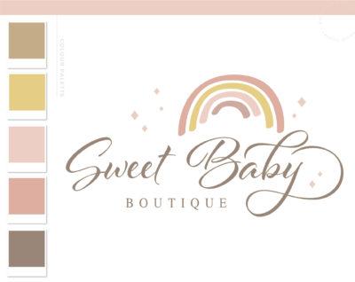 Boho Rainbow Logo Design, Baby Boutique Logo and Watermark, Sparkle Photography Branding Kit, Cute Kids Logo Branding