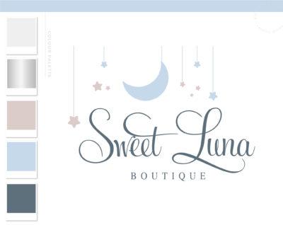 Moon Star Logo Design, Baby Cloud Raining Stars Boutique Logo and Watermark, Photography Branding Kit, Cute Kids Branding Kit