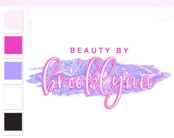Neon Pink Logo Design, Glitter Holographic Beauty Logo and Watermark, Premade logo, Photography Branding Kit, Lash and Salon Logo