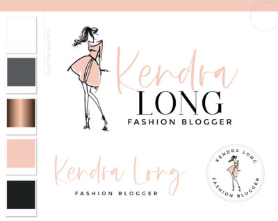 Fashion Logo Design, Fashion Blogger Influencer Branding Kit, Boutique Website Branding Logo Watermark, Premade Girl Fashion Logo Package