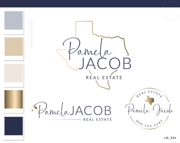 Texas Real Estate Logo, Realty Agent Logo, Gold Logo design, Premade Logo, Watermark Logo, Business card broker, Texas Realtor Marketing