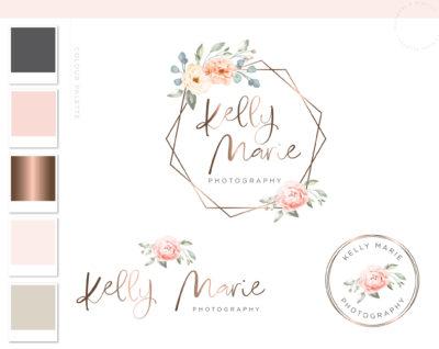 Floral Logo, Premade Watercolor Hexagon Logo Design, Photography Flower Logo Wreath, Business Logo, Elegant Floral Branding Package