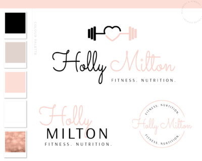 Personal Trainer Logo Design, Health and Wellness Work out Gym Branding, Fitness Logo Watermark Dumbbell Teal Business Brand