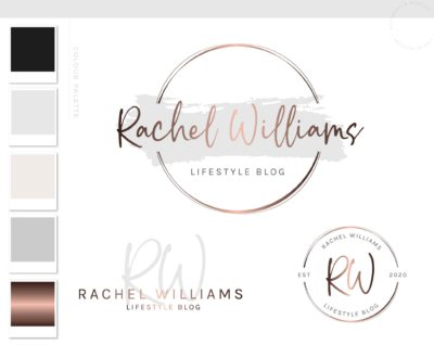 Circle Event Logo, Watercolor Logo Design, Rose Gold Logo, Branding kit, Calligraphy Branding Package, Photography Logo Watermark