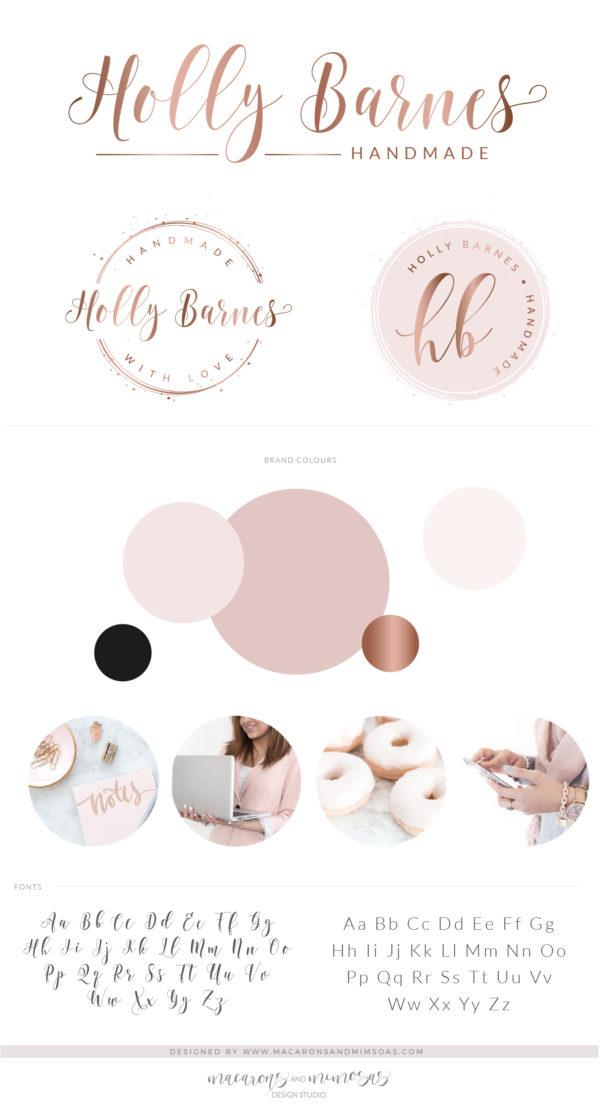 Rose Gold Circle Logo, Pink Confetti Circle Logo, Watercolor Logo Design, Premade Logo Branding kit, Photography Logo Watermark