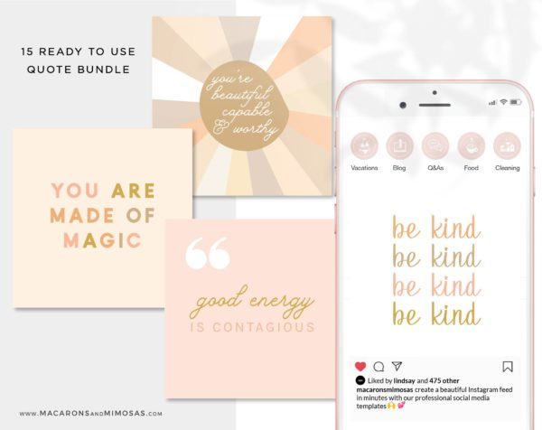 15 Inspirational Instagram Quotes, Ready to Post Pack of Boho Retro Rainbow, Magic social media quotes, instagram bundle, Motivational Quote