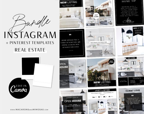 Realtor Instagram Templates editable in Canva. Elevate your Instagram feed, showcase your clients listings for your Real Estate business!