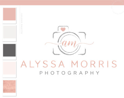 Camera Logo for Photography, Watermark Logo Branding Kit, Rose Gold heart Camera Logo Package Design, Premade Watercolor Brushstroke Logo