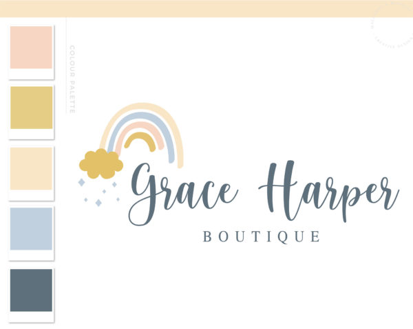 Rainbow Logo Design, Boho Baby Cloud Rain Boutique Logo and Watermark, Photography Branding Kit, Cute Kids Logo Branding