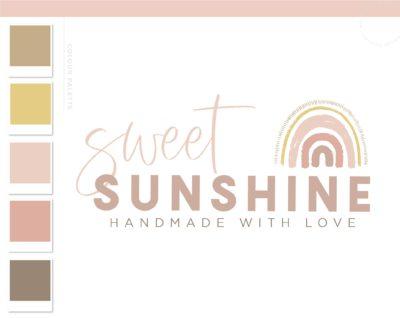 Rainbow Boho Logo Design, Boho Baby Boutique Logo and Watermark, Photography Branding Kit, Cute Kids Logo Branding