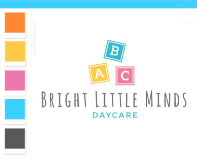 Building Blocks Logo Design, ABC Daycare Child Care Baby Boutique Logo and Watermark, Block Photography Branding Kit, Kids Logo Branding