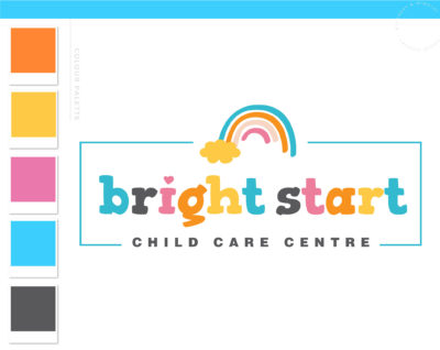 Rainbow Logo Design, Daycare Child Care Baby Boutique Logo and Watermark, Photography Branding Kit, Cute Kids Logo Branding
