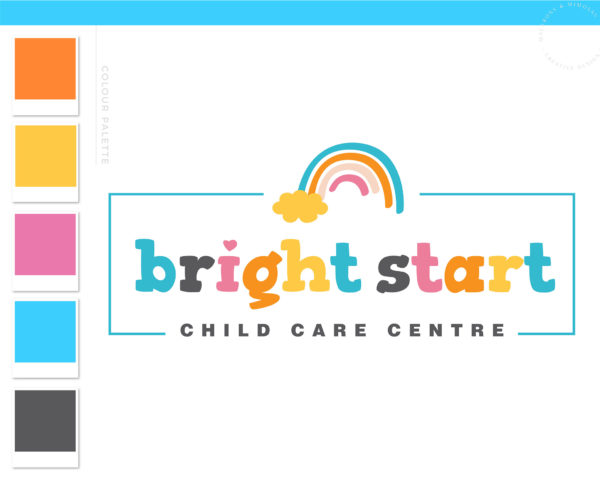 Rainbow Logo Design, Daycare Child Care Baby Boutique Logo and Watermark, Photography Branding Kit, Cute Kids Logo Branding