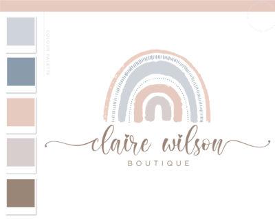 Rainbow Logo Design, Boho Kids Boutique Logo and Watermark, Photography Branding Kit, Cute Baby Logo Branding