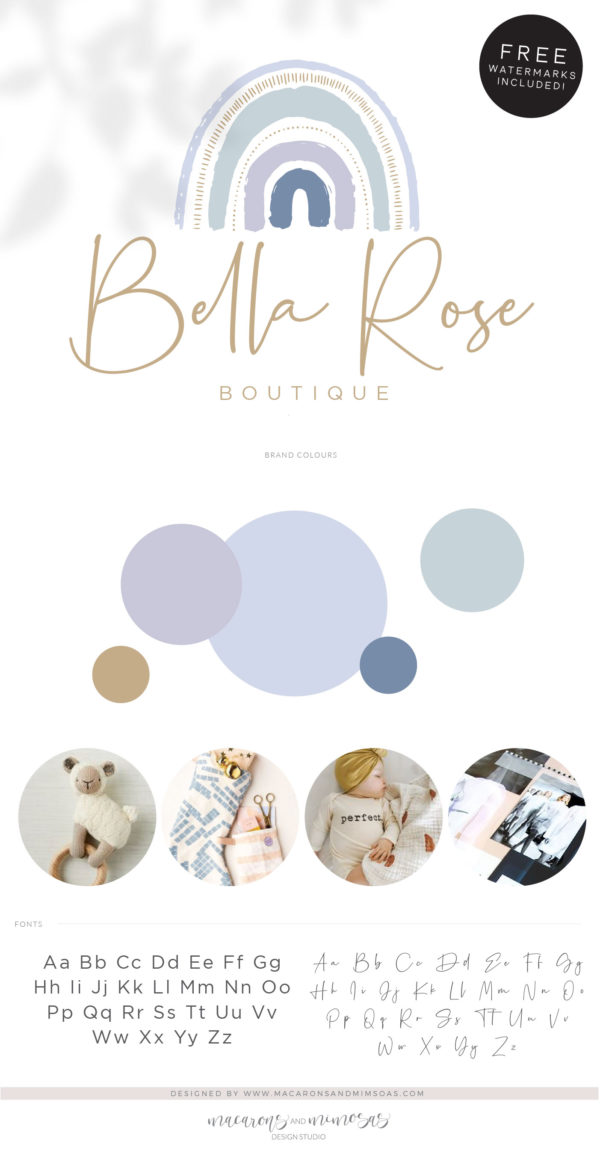 Boho Baby Rainbow Logo Design, Boho Kids Boutique Logo and Watermark, Photography Branding Kit, Cute Logo Branding