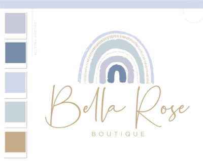 Boho Baby Rainbow Logo Design, Boho Kids Boutique Logo and Watermark, Photography Branding Kit, Cute Logo Branding