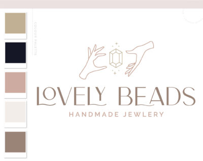 Apothecary Boho Logo Design, Magic Gem Jewelry Stars Modern Bohemian Logo Watermark and Branding Kit, Mystical Modern Simple Boho Brand
