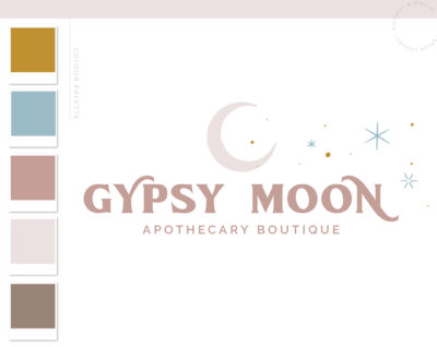 Magic Moon Stars Boho Logo Design, Modern Apothecary Bohemian Logo Watermark and Branding Kit, Mystical Modern Simple Gypsy Brand