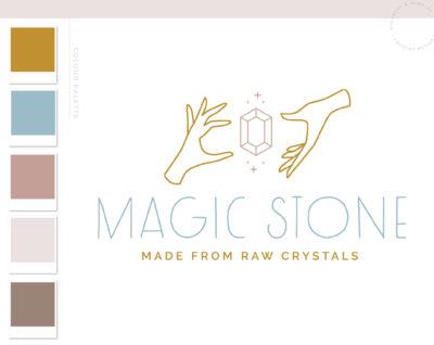 Boho Jewelry Logo Design, Magic Gem Apothecary Stars Modern Bohemian Logo Watermark and Branding Kit, Mystical Modern Simple Boho Brand