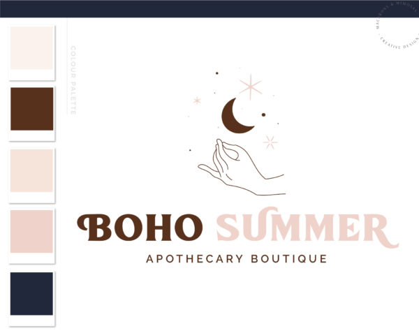 Boho Apothecary Logo, Magic Moon Stars Logo Design, Modern Boho Logo Watermark and Branding Kit, Mystical Modern Simple Vintage Bohemian Brand