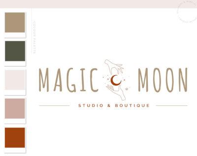 Mystical Logo Hands Moon Stars Boho, Modern Apothecary Bohemian Logo Watermark and Branding Kit, Modern Magic Simple Gypsy Brand Design
