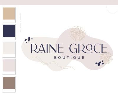 Boho Logo Design, Bohemian Abstract Whimsical Shape Logo and Watermark, Retro Feminine free-spirited Boutique Photography Branding Kit