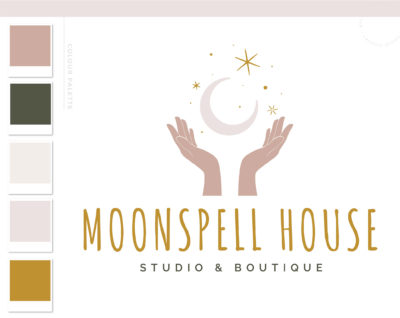 Mystical Hands Logo Moon Stars Boho, Modern Apothecary Bohemian Logo Watermark and Branding Kit, Modern Magic Simple Gypsy Brand Design