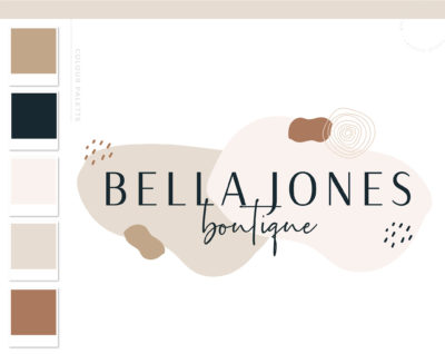 Bohemian Logo Design, Boho Abstract Whimsical Shape Logo and Watermark, Retro Feminine free-spirited Boutique Photography Branding Kit